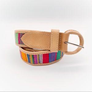 Guatemalan Woven Cotton & Leather Tribal Boho Belt